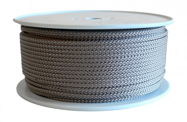 PP rope braided 8 times Ø 6 mm sold by the metre, grey