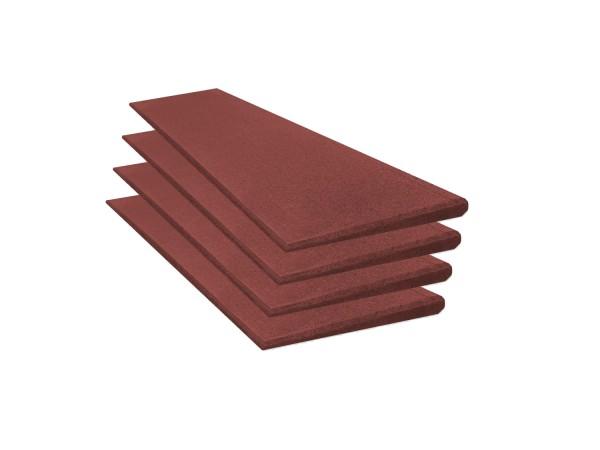 Bordsteinrampenset 4m breit, 25mm hoch, rotbraun