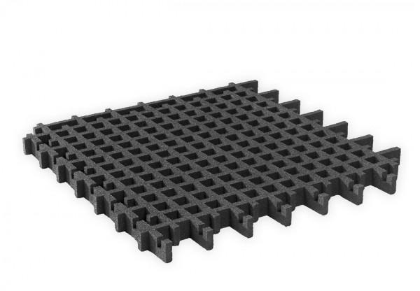 Rasengitterplatte 45 mm aus Gummigranulat Schwarz