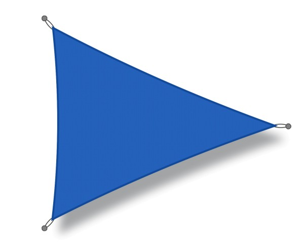 Triangular shade sail 4 x 4 x 4 m blue