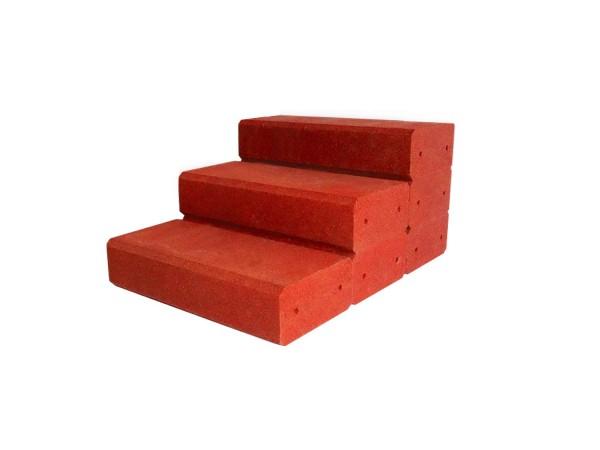 Gartentreppe aus Gummigranulat 750 mm breit Rotbraun