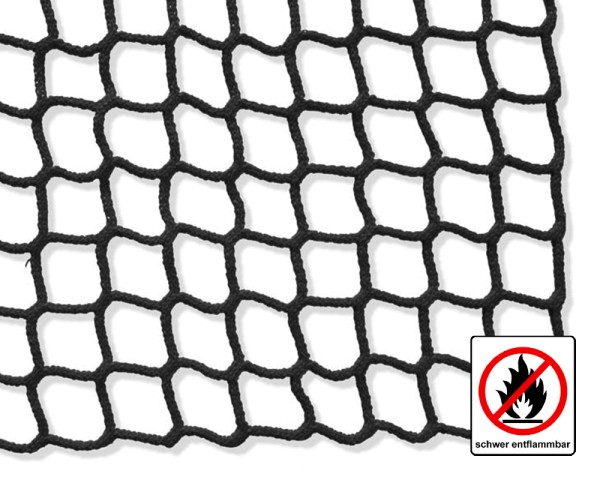 Safety net black, flame retardant - mesh size 60 mm, material thickness 5 mm