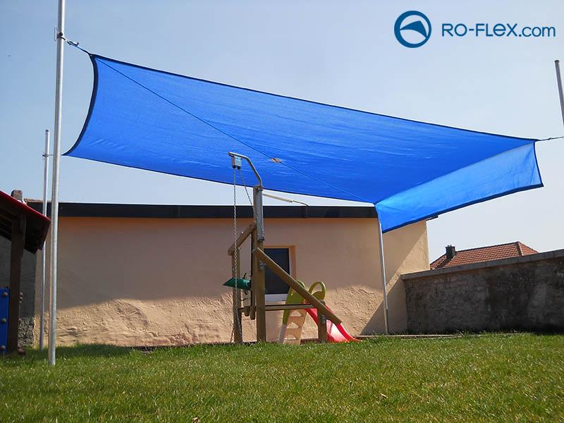 Sonnensegel blau mit Volant