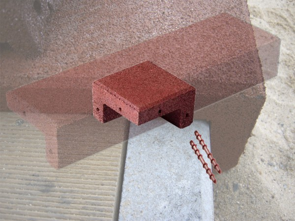 Angular covering corner made of rubber granulate auburn