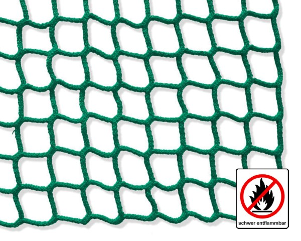Safety net green, flame retardant - mesh size 45 mm, material thickness 5 mm