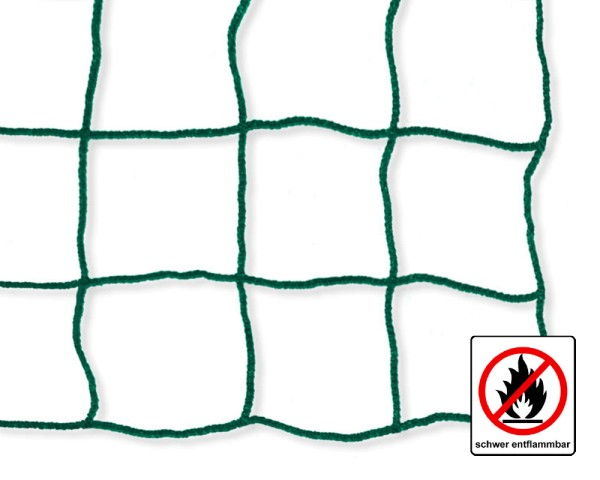Safety net green, flame retardant - mesh size 100 mm, material thickness 5 mm