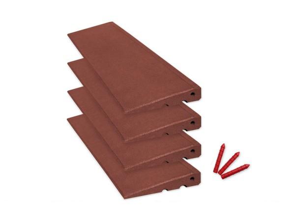 Bordsteinrampenset 4m breit, 45mm hoch, Rotbraun