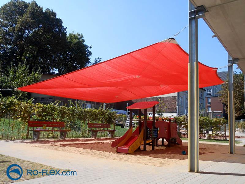 Sonnensegel rot für Kindergarten