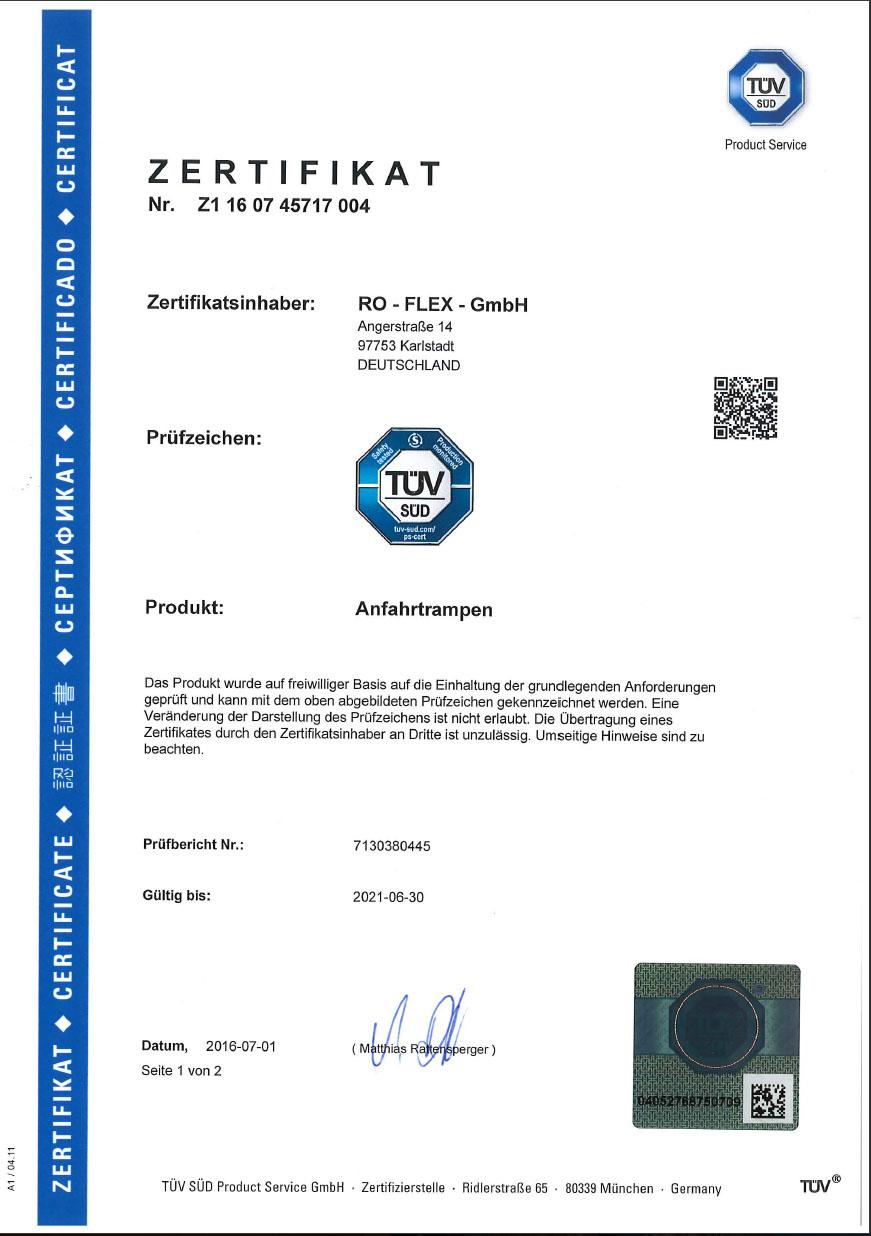 Zertifikat TÜV Rampen