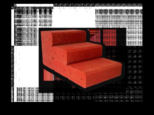 Gartentreppe aus Gummigranulat 500 mm breit Rotbraun