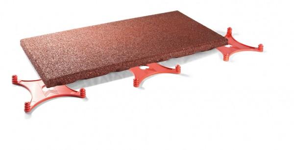 Elastikplatte Terrasse Balkon aus Gummigranulat 40 mm Rotbraun