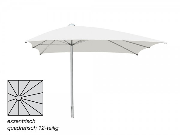 ROFI Klima Pro Comfort parasol, square off-centre 600 x 600 cm, standpipe Ø 110 mm, white