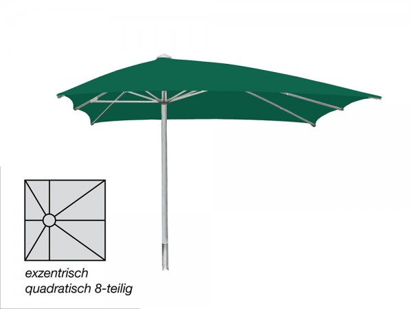 ROFI Klima Pro Comfort parasol, square off-centre 400 x 400 cm, standpipe Ø 90mm, green