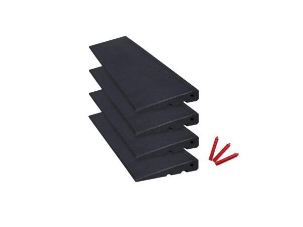 Bordsteinrampenset 4m breit, 45mm hoch, schwarz